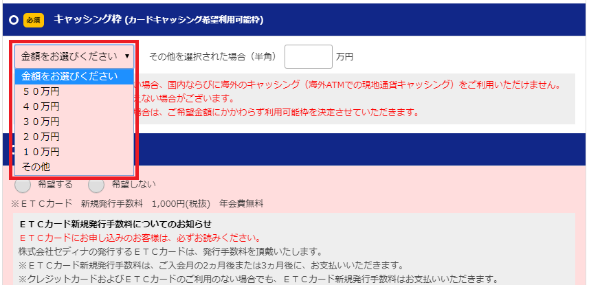 セディナカードJiyu!da!のキャッシング枠