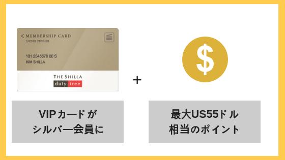 VIPカードがシルバー会員になる&新羅インターネット免税店で使える合計US55ドル相当のポイントをプレゼント