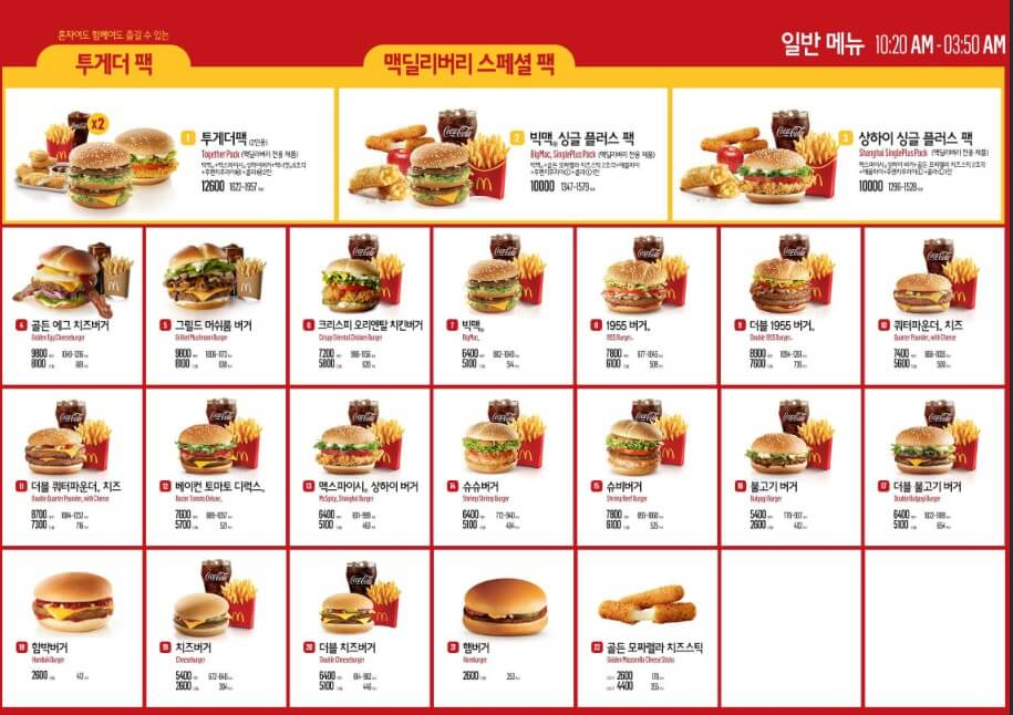 2018年の韓国のマクドナルドの値段
