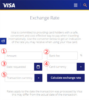 VISA EXCHANGE RATEの使い方