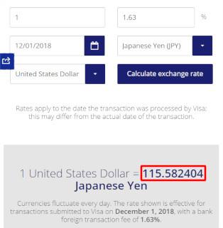 2018年12月1日のVISA EXCHANGE RATEの結果