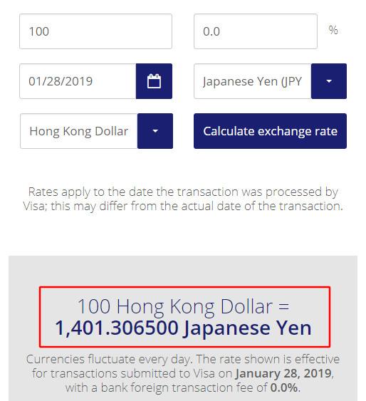 VISAのクレジットカードの2019年1月28日の香港ドルのレート
