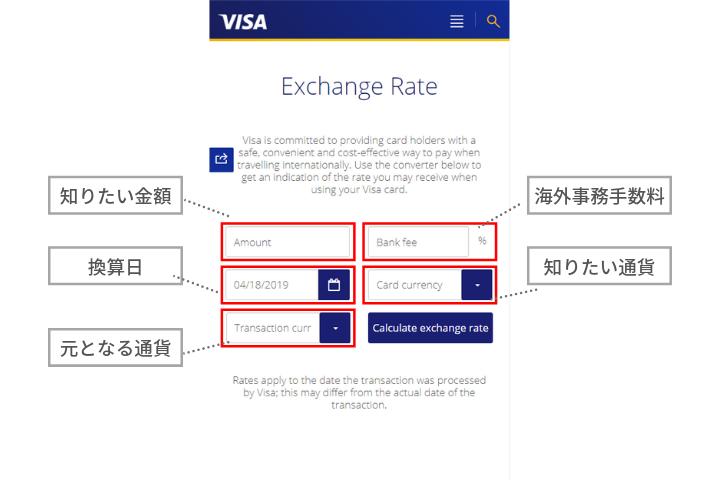 Exchange rate calculatorの各項目の説明